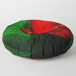 Red Tulip Green Leaves Floor Pillow