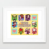 young avengers Framed Art Prints featuring Young Avengers by waste-cabin