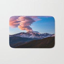 Fire on the Mountain - Sunrise Illuminates Cloud Over Longs Peak in Colorado Bath Mat
