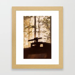 HUMV with Rocket Launcher in the foggy woods Framed Art Print
