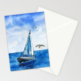 Boat trip on the yacht Stationery Cards