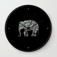 Sparkly colourful silver mosaic Elephant Wall Clock