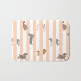 Stripe with bunnies Bath Mat