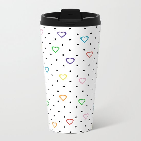 Candy Heart Spots Metal Travel Mug