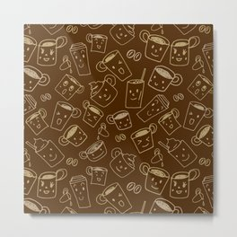 Coffee illustration pattern Metal Print