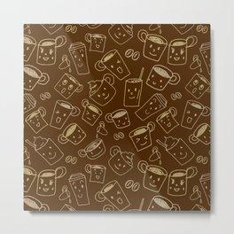 Coffee illustration pattern Metal Print