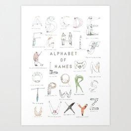 Alphabet of names Art Print