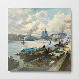 Notre Dame, River Seine, Paris Ile Saint-Louis with River Boats by Henri Alphonse Barnoin Metal Print