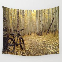 Golden Aspen Mountain Biking Wall Tapestry