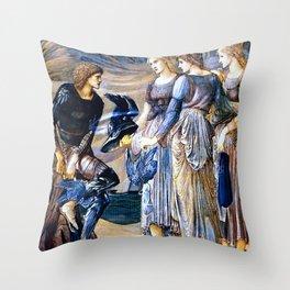 "Edward Burne-Jones ""Perseus and the Sea Nymphs (The Arming of Perseus)"" Throw Pillow"