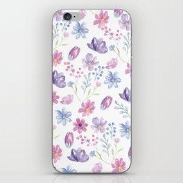Elegant pink lavender blue watercolor modern floral iPhone Skin