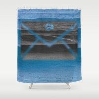 return Shower Curtains featuring Return Address by notchildfriendly