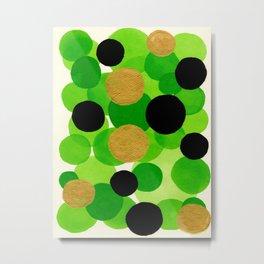 Lime Green Watercolor Bubbles Metal Print