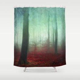 red forest floor Shower Curtain
