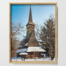 Traditional Romanian wooden Church covered in snow Serving Tray