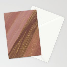 Coral burgundy gold glitter watercolor brushstrokes Stationery Cards