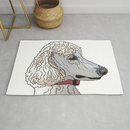 Kyah the White Standard Poodle Rug