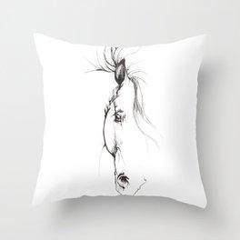 horse head ink art Throw Pillow