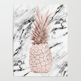 Rose Gold Pineapple on Black and White Marble Poster