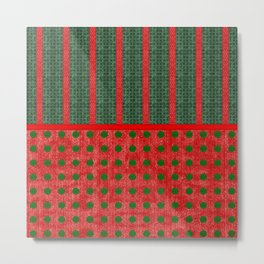 Christmas Red and Green Woven Stripes and Dots Metal Print