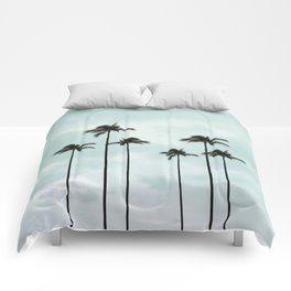 Palm Tree | Landscape Photography | Sunset Clouds | Blue Sky | Minimalism Comforters