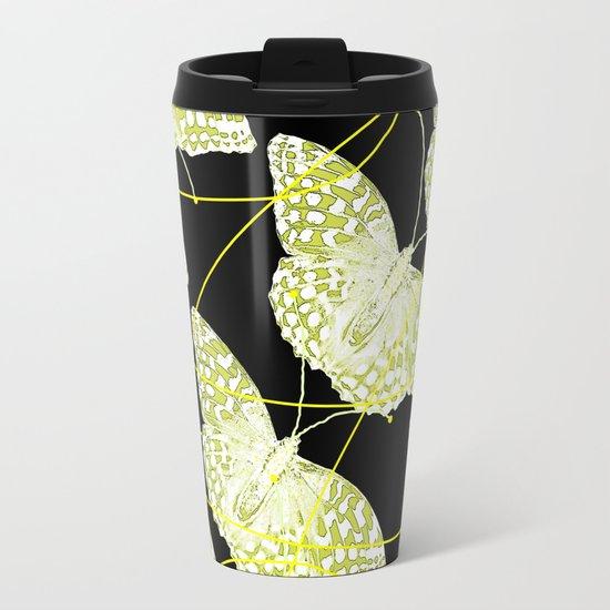 Butterflies on black background Metal Travel Mug