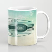 delorean Mugs featuring Siamese  Delorean by Vin Zzep