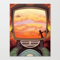 flcl Canvas Prints featuring FLCL - Off into the Burning Sunset by PinStripes Studios