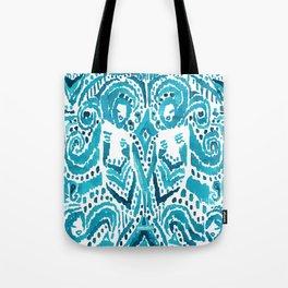 #MERMLIFE Blue Ikat Watercolor Mermaids Tote Bag