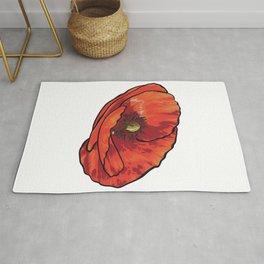 Orange Poppy Flower Rug