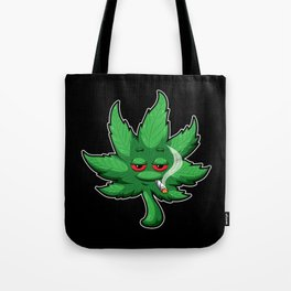 Cannabis Leaf With Red Eyes Smokes Weed - THC CBD Tote Bag