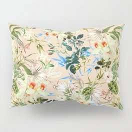 Hibiscus, Orchid, Rosebuds - White Blue Green Pillow Sham