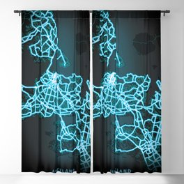 Auckland, New Zealand, Blue, White, Neon, Glow, City, Map Blackout Curtain
