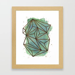 Abstract Geometric with Watercolor Background Framed Art Print