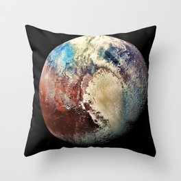 Planet Pluto Deep Space Space Craft Pass By Telescopic Photograph Throw Pillow