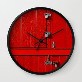 Red Cabinet Wall Clock