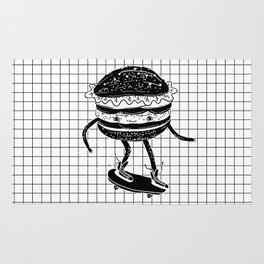 Cucumburger. Cucumber Burger on skateboard Rug