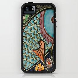 bohemian folk art orange aqua blue japanese good luck koi fish iPhone Case