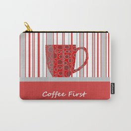 Coffee First With Stripes Carry-All Pouch