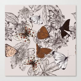 Victorian style classic pattern with butterflies and tropical flowers Canvas Print