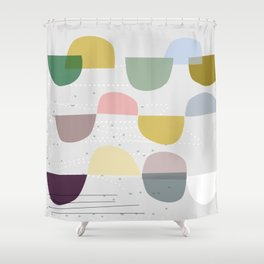 Mid century temporary art VIII Shower Curtain