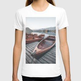 beautiful Boats at Lake Bled autumn scenery 2 T-shirt