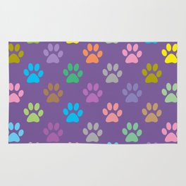 Colorful paws pattern Rug