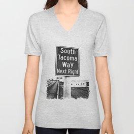 South Tacoma Way exit Unisex V-Neck