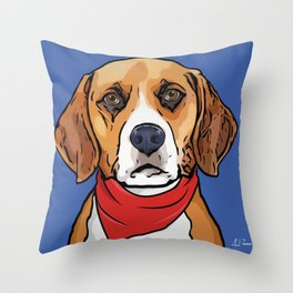 Beagle Art Poster Dog Icon Series by Artist A.Ramos. Designed in Bold Colors Throw Pillow