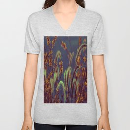 Autumn Grassflower in copper neon style Unisex V-Neck