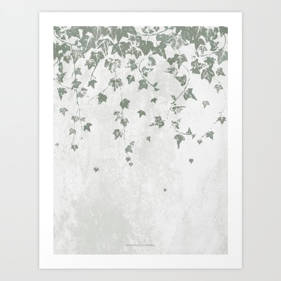 Gray Green Trailing Ivy Leaf Print by itsjensworld