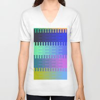 fabric V-neck T-shirts featuring Blocky Fabric by writingoverashes