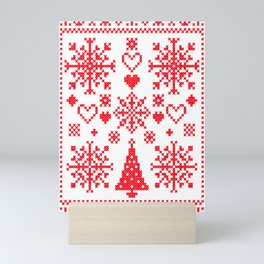 Christmas Cross Stitch Embroidery Sampler Red And White Mini Art Print