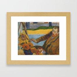 Vincent van Gogh painting sunflowers by Paul Gauguin Framed Art Print